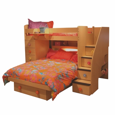 Berg Furniture Sierra Spacesaver Twin Over Full With Chest Stairs