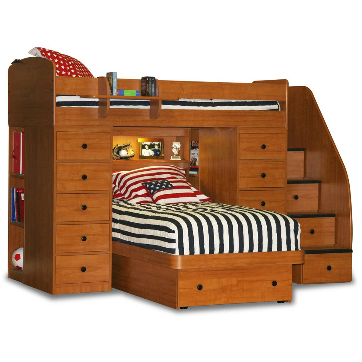 High Quality Berg Furniture Sierra Spacesaver Twin Over Twin With 2 Chests, Stairs U0026  Platform Bed FREE SHIPPING