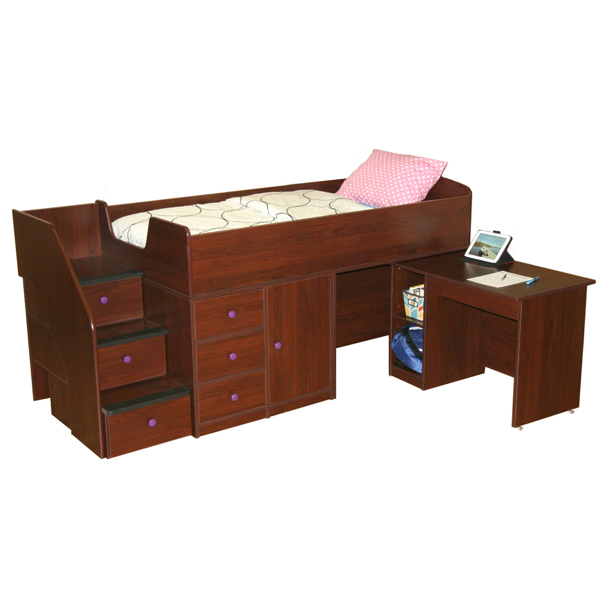 Berg Furniture Sierra Captainu0027s Twin Bed With Pull Out Desk U0026 Stairs FREE  SHIPPING