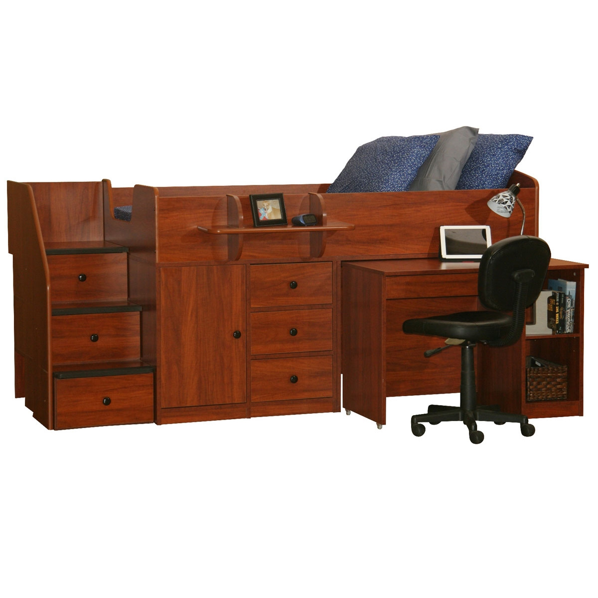 berg furniture sierra twin bed with pullout desk u0026 stairs free shipping - Captain Bed