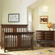Bonavita 2 Piece Nursery Set - Harper Lifestyle 4 in 1 Convertible Crib and Double Dresser in Chocolate
