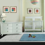 Bonavita 2 Piece Nursery Set - Harper Lifestyle 4 in 1 Convertible Crib and Double Dresser in Classic White