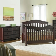 Bonavita 2 Piece Nursery Set - Kinsley Lifestyle 4 in 1 Convertible Crib and Double Dresser in Classic Cherry