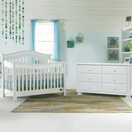 Bonavita 2 Piece Nursery Set - Kinsley Lifestyle 4 in 1 Convertible Crib and Double Dresser in Classic White