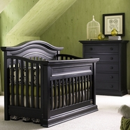 Bonavita 2 Piece Nursery Set - Sheffield Lifestyle Crib and 5 Drawer Dresser in Distressed Black