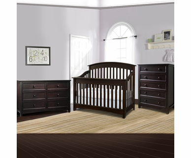 Bonavita 3 Piece Nursery Set - Casey Lifestyle 4 in 1 Convertible Crib, Double Dresser and 5 Drawer Dresser in Espresso