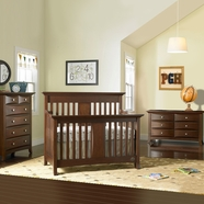 Bonavita 3 Piece Nursery Set - Harper Lifestyle 4 in 1 Convertible Crib and Double Dresser and 5 Drawer Dresser in Chocolate