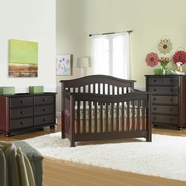 Bonavita 3 Piece Nursery Set - Kinsley Lifestyle 4 in 1 Convertible Crib and Double Dresser and 5 Drawer Dresser in Classic Cherry