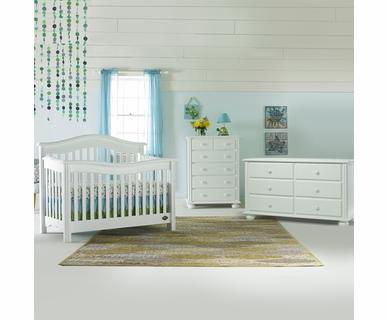 Bonavita 3 Piece Nursery Set - Kinsley Lifestyle 4 in 1 Convertible Crib and Double Dresser and 5 Drawer Dresser in Classic White
