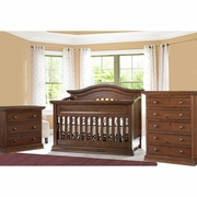 Bonavita 3 Piece Nursery Set -  Sheffield Lifestyle Crib, 3 Drawer Dresser and 5 Drawer Dresser in Dark Walnut