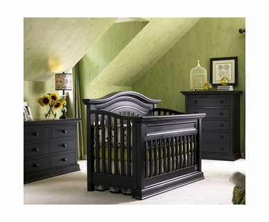 Bonavita 3 Piece Nursery Set - Sheffield Lifestyle Crib, Double Dresser and 5 Drawer Dresser in Distressed Black