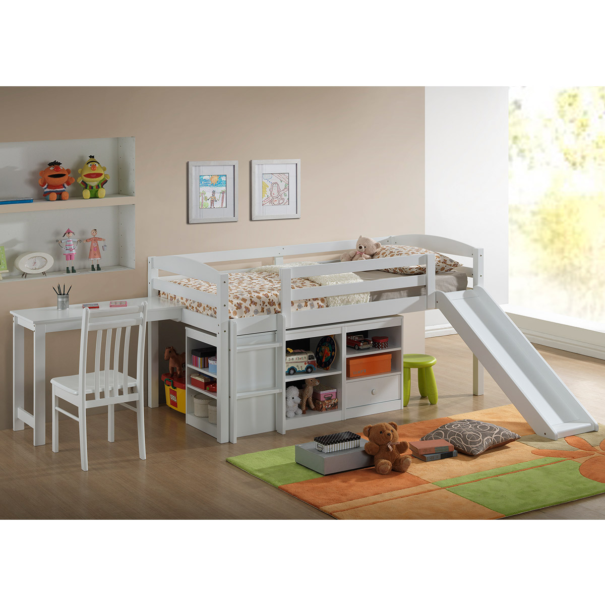 Broyhill Kids Destin Twin Size Junior Loft Bed With Slide In White