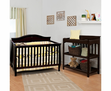 Child Craft 2 Piece Nursery Set - Camden 4-in-1 Convertible Crib and Flat Top Dressing Table in Jamocha