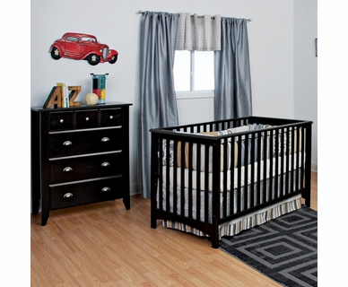 Child Craft 2 Piece Nursery Set - Shoal Creek Euro Style Convertible Crib and 4 Drawer Chest in Jamocha