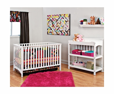 Child Craft 2 Piece Nursery Set - Shoal Creek Euro Style Convertible Crib and Changing Table in Matte White