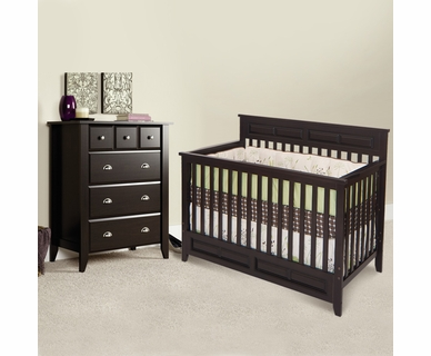 Child Craft 2 Piece Nursery Set - Shoal Creek Lifetime Convertible Crib and 4 Drawer Dresser in Jamocha