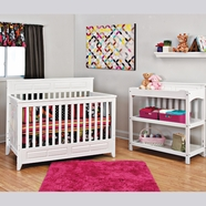 Child Craft 2 Piece Nursery Set - Shoal Creek Lifetime Convertible Crib and Changing Table in Matte White