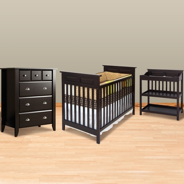 Child Craft 3 Piece Nursery Set Shoal Creek Traditional Style Convertible Crib Changing Table And 4 Drawer Chest In Jamocha