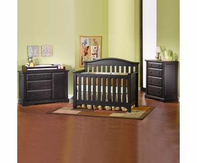 Child Craft 4 Piece Nursery Set - Hawthorne Convertible Crib, Dressing Bureau / Changer and 4 Drawer Dresser in Espresso