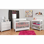 Child Craft 4 Piece Nursery Set - Shoal Creek Lifetime Convertible Crib, Changing Table and 4 Drawer Chest with Dressing Kit in Matte White
