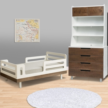 Classic Collection 3 Piece Bedroom Set - Toddler Bed, 4 Drawer Dresser & Hutch - Walnut by Oeuf - Click to enlarge