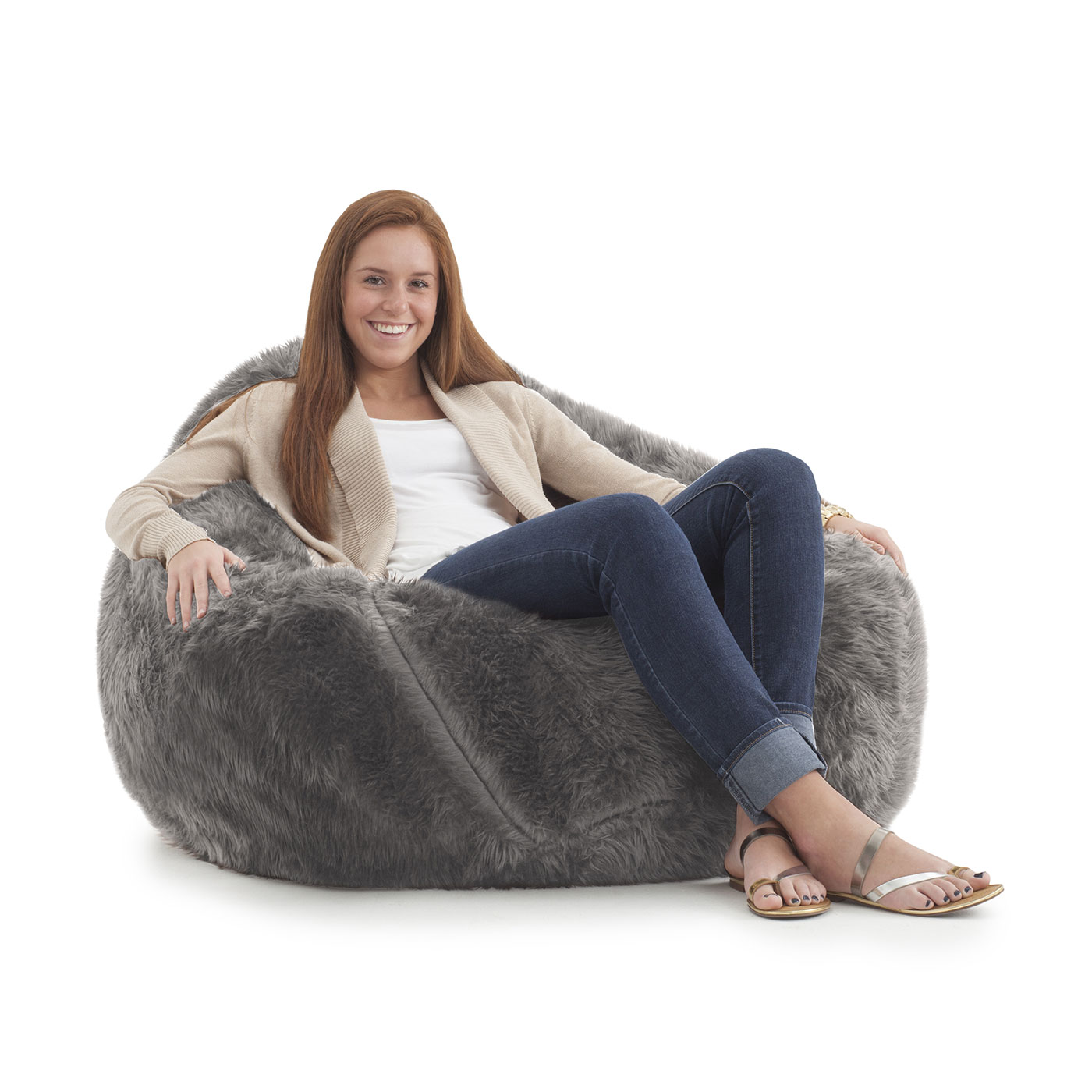 "fort Research Big Joe Lux 132"" Teardrop Bean Bag Chair in Grey"