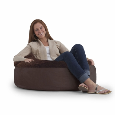Superb Comfort Research Big Joe Lux Zip It Joenut Bean Bag Chair In Chocolate Brown Passion Suede Shag Pabps2019 Chair Design Images Pabps2019Com