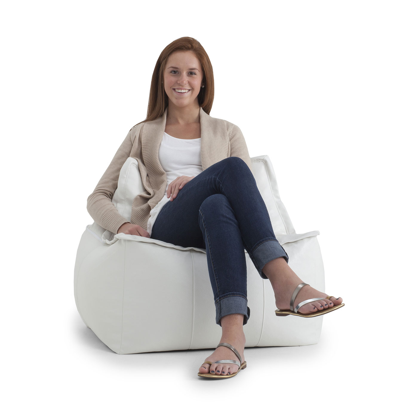 Awesome Comfort Research Big Joe Lux Zip It Square Vegan Leather Bean Bag Chair In Ivory Andrewgaddart Wooden Chair Designs For Living Room Andrewgaddartcom