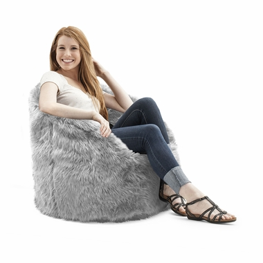Comfort Research Big Joe Original Milano Shag Bean Bag Chair In Grey    Click To Enlarge
