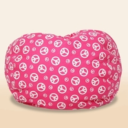Comfort Research The Classic Ultimax Bean Bag in Pink with White Peace Signs