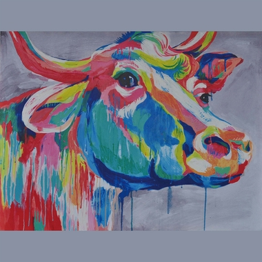 Crestview Collection Big Ed Colorful Bull Wall Art