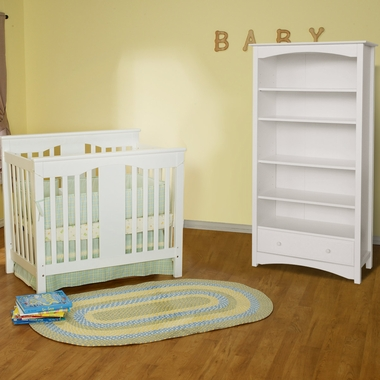 davinci 2 piece nursery set annabelle mini crib and jayden 5 shelf bookcase in white