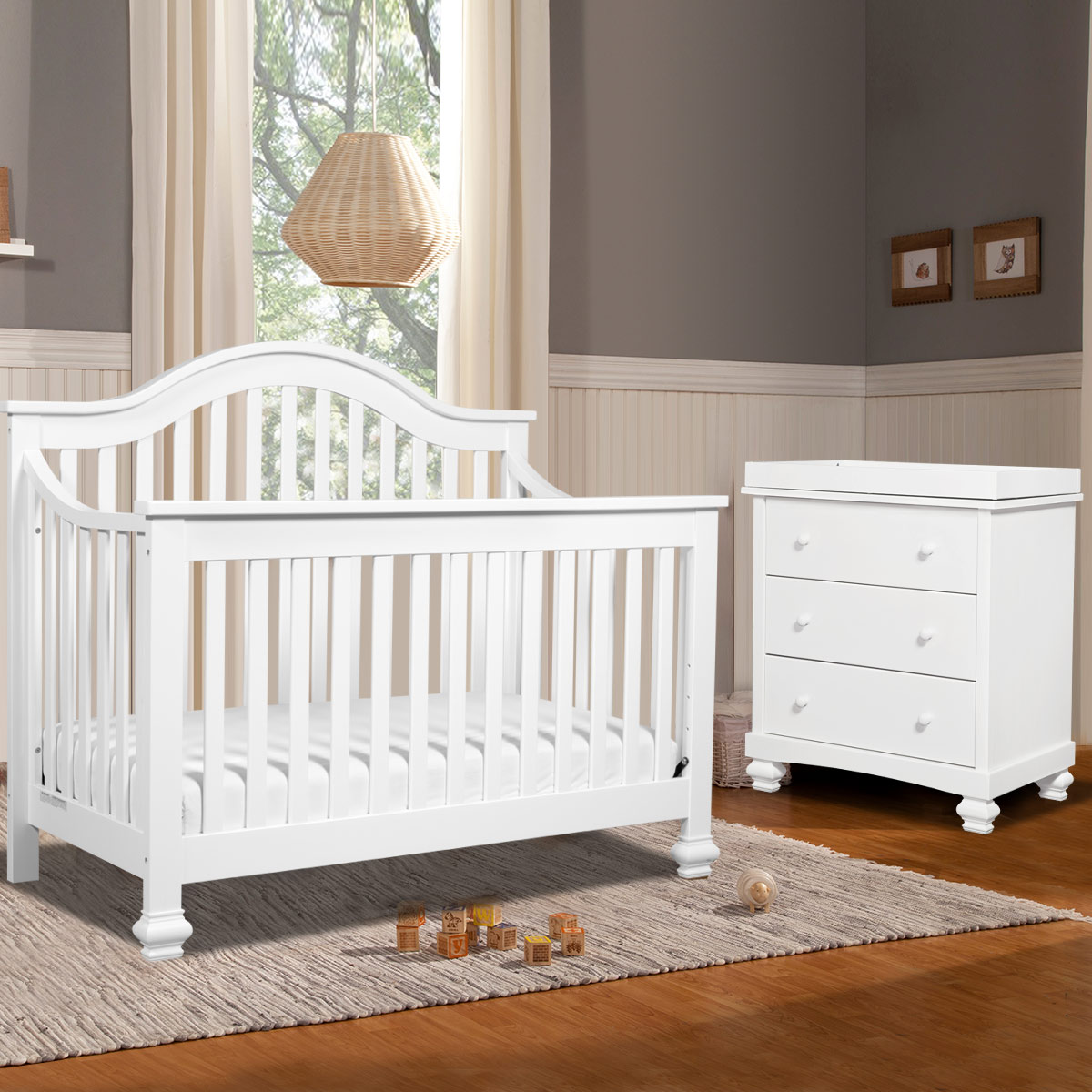 Davinci 2 Piece Nursery Set Clover 4 In 1 Convertible Crib And Dresser Changer White Free Shipping