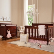 DaVinci 2 Piece Nursery Set - Emily 4 in 1 Convertible Crib with Toddler Rail and 3 Drawer Changer in Cherry