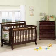 DaVinci 2 Piece Nursery Set - Emily 4 in 1 Convertible Crib with Toddler Rail and  Kalani 4 Drawer Dresser in Espresso