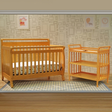 DaVinci 2 Piece Nursery Set - Emily 4 in 1 Convertible Crib with Toddler Rail and Sleigh Changing Table in Honey Oak - Click to enlarge