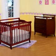 DaVinci Emily 2 Piece Nursery Set -  Mini 2 in 1 Convertible Crib and 3 Drawer Changer in Cherry