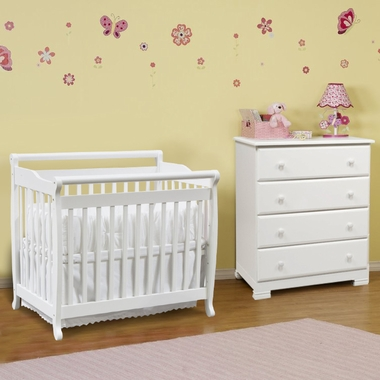 davinci 2 nursery set emily mini 2 in 1 convertible crib and kalani 4 drawer dresser in