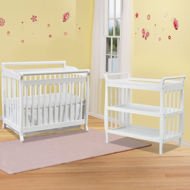 convertible crib and sleigh changing table in white click to enlarge