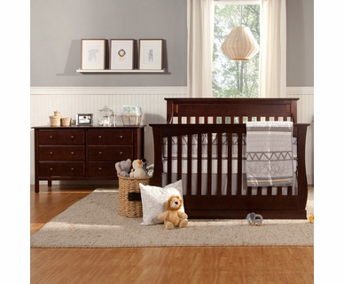 Davinci 2 Piece Nursery Set - Glenn 4-in-1 Convertible Crib and Jayden 6 Drawer Double Dresser in Espresso