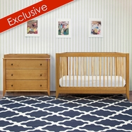 DaVinci 2 Piece Nursery Set - Highland 4-in-1 Convertible Crib and 3 Drawer Changer Dresser in Chestnut