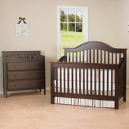 DaVinci 2 Piece Nursery Set - Jayden 4 in 1 Convertible Crib with Toddler Rail and 3 Drawer Changer in Espresso
