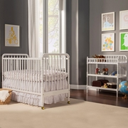 DaVinci 2 Piece Nursery Set - Jenny Lind 3 in 1 Convertible Crib and Changing Table in White