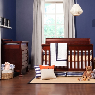 DaVinci 2 Piece Nursery Set - Kalani 4 in 1 Convertible Crib with Toddler Rail and 3 Drawer Changer in Cherry - Click to enlarge