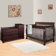 DaVinci 2 Piece Nursery Set - Kalani 4 in 1 Convertible Crib with Toddler Rail and 3 Drawer Changer in Espresso