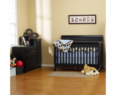 DaVinci 2 Piece Nursery Set - Kalani 4 in 1 Convertible Crib with Toddler Rail and Combo Changer/Dresser in Ebony