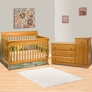 DaVinci 2 Piece Nursery Set - Kalani 4 in 1 Convertible Crib with Toddler Rail and Combo Changer/Dresser in Honey Oak