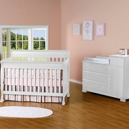 DaVinci 2 Piece Nursery Set - Kalani 4 in 1 Convertible Crib with Toddler Rail and Combo Changer/Dresser in White