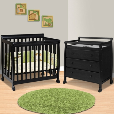 Emily Mini Crib In Cherry Twin Bed Conversion Bed