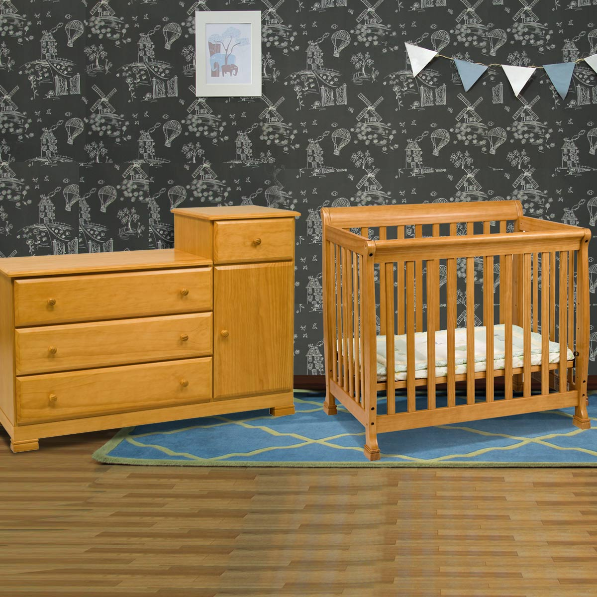 Da Vinci 2 Piece Nursery Set Kalani Mini Crib And Combo Changer Dresser In Honey Oak Free Shipping